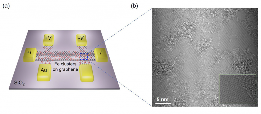 Observation of spin-polarized Anderson state around charge neutral point in graphene with Fe-clusters